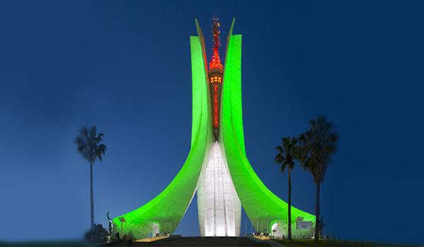 Maqam Echahid is illuminated at night to highlight the heritage of Algiers and unite the community